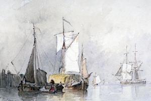 A Dutch Hay Barge, 1870 by Edmund Thornton Crawford