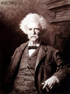 Portrait of Mark Twain, the Gallery of Modern Art, Pitti Palace, Florence by Edoardo Gelli