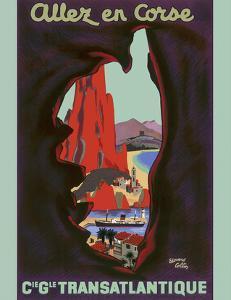 Allez en Corse (Go to Corsica) - Compagnie Générale Transatlantique (French Line) by Edouard Collin