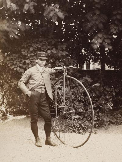 Edouard Eiffel, tenant un bicycle-Alexandre-Gustave Eiffel-Giclee Print