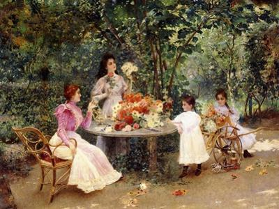 Teatime in the Garden by Edouard Frederic Wilhelm Richter