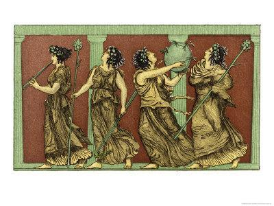 Four Female Dancers: Each Carries a Thyrsus and One a Tambourine as Well