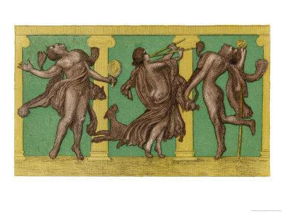 Two Male Dancers More or Less Naked Dance to the Sound of Pipes Played by a Third Exciting the Dog