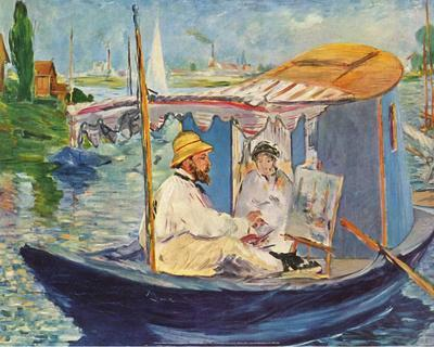Claude Monet Working on His Boat in Argenteuil, 1874