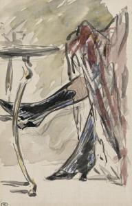 Deux jambes avec bottines sous une jupe rouge, devant un guéridon by Edouard Manet