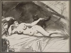 Femme nue, étendue sur un lit, la femme au chat by Edouard Manet