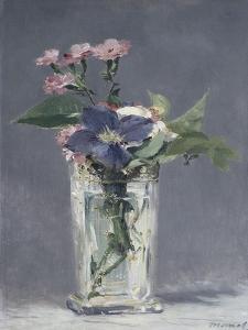 Oeillets et clématites dans un vase de cristal by Edouard Manet