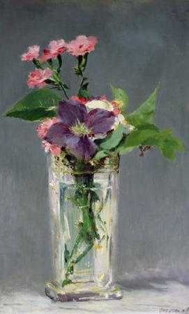 Pinks and Clematis in a Crystal Vase, c.1882 by Edouard Manet