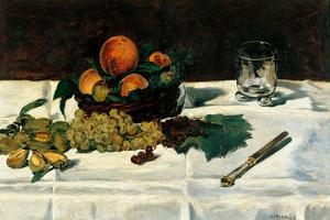 Still Life Fruit on a Table by Edouard Manet