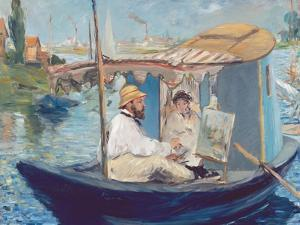 The Boat, (Claude Monet in His Floating Studio), 1874 by Edouard Manet