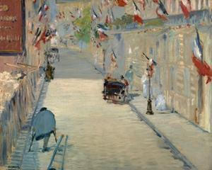The Rue Mosnier with Flags by Edouard Manet