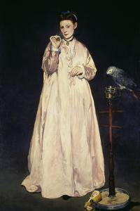 Woman with Parrot 1866 by Edouard Manet