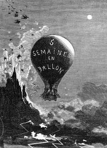 """Frontispiece to """"Five Weeks in a Balloon"""" by Jules Verne by Édouard Riou"""