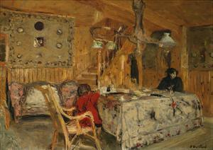 Denise Natanson and Marcelle Aron at the Summer House, Villerville, Normandie by Edouard Vuillard