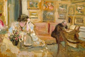 Jos and Lucie Hessel in the Small Salon, Rue de Rivoli, c.1900-05 by Edouard Vuillard