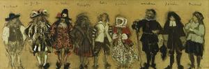 Study for costumes for nine actors in 'La Coupe Enchantee' for Jean de la Fountaine by Edouard Vuillard