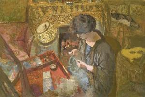 The Small Drawing-Room: Mme Hessel at Her Sewing Table, 1917 by Edouard Vuillard