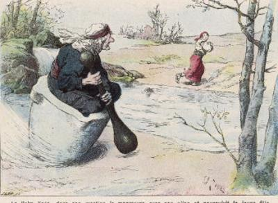 The Baba Yaga Chases the Girl in a Pestle