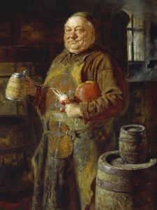 Monk in the Cloister Brewery with Beer Stein as Well as White and Red Radishes, 1889 by Eduard Grutzner