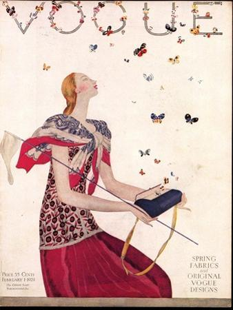 Vogue Cover - February 1924 by Eduardo Garcia Benito