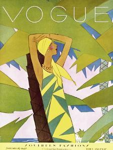 Vogue Cover - January 1927 - Among the Palms by Eduardo Garcia Benito
