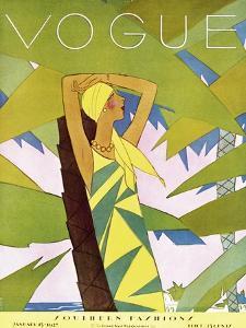 Vogue Cover - January 1927 - Among the Palms by Eduardo Garcia Benito