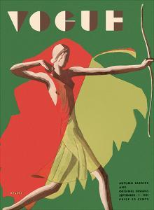Vogue Magazine Cover - September, 1931 - Female Archer by Eduardo Garcia Benito