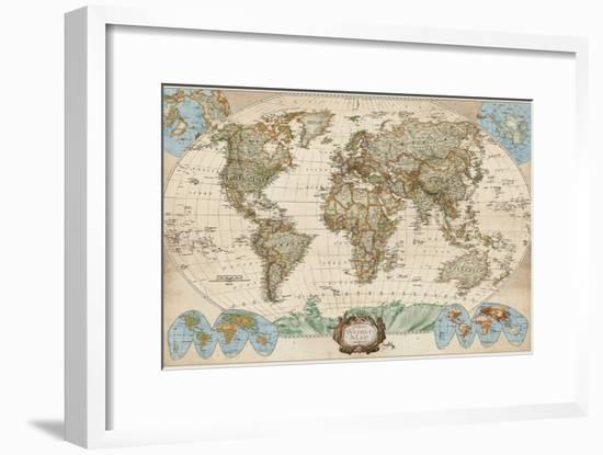 Educational World Map-Elizabeth Medley-Framed Premium Giclee Print