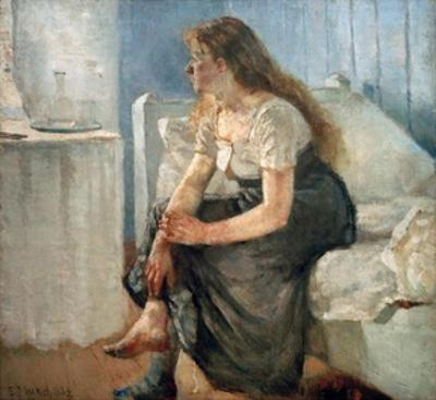 Morning, (Girl sitting on bed) by Edvard Munch
