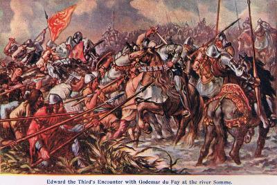 Edward 111's Encounter with Godemur De Fay-Sir John Gilbert-Giclee Print