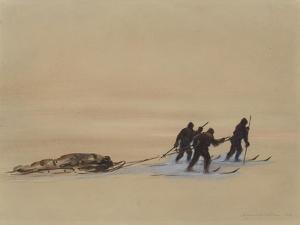 Sledge Hauling on Ski. A Grey Day on the Great Ice Barrier, 1903 by Edward Adrian Wilson