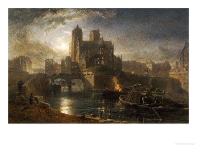 Notre Dame, Paris, from the Left Bank by Moonlight, 1864