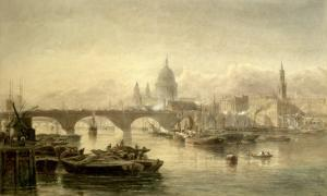 St. Paul's Cathedral and London Bridge from the Surrey Side, 1864 by Edward Angelo Goodall
