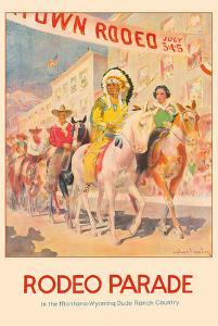Western Rodeo Parade - Northern Pacific Railroad - Indian Chief, Cowboys by Edward Brewer