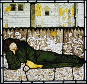 Chaucer Asleep with His Good Women on Stained Glass Window by Edward Burne-Jones