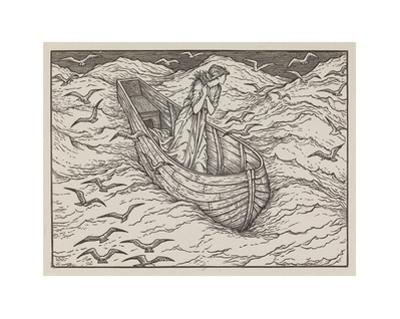 Illustration of lady in a boat