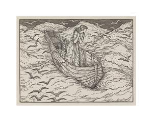 Illustration of lady in a boat by Edward Burne-Jones