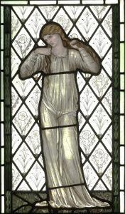 Woman Playing Lute on Stained Glass Window by Edward Burne-Jones