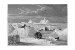 Illustration of Inuits Building an Igloo by Edward Finden