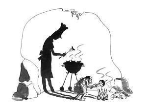 A caveman cooking a piece of meat throws a shadow on the cave wall showing? - New Yorker Cartoon by Edward Frascino
