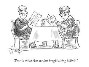 """""""Bear in mind that we just bought string bikinis."""" - New Yorker Cartoon by Edward Frascino"""