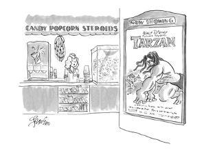 Concession stand at movie theatre showing Walt Disney's Tarzan, offers ban? - New Yorker Cartoon by Edward Frascino