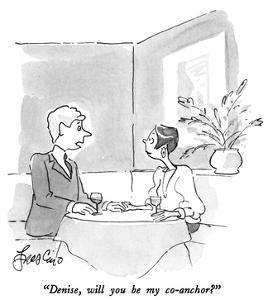 """""""Denise, will you be my co-anchor?"""" - New Yorker Cartoon by Edward Frascino"""