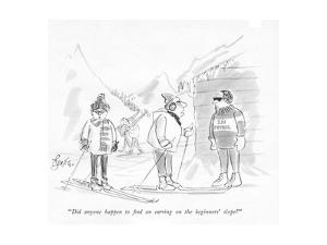 """""""Did anyone happen to ?nd an earring on the beginners' slope?"""" - New Yorker Cartoon by Edward Frascino"""