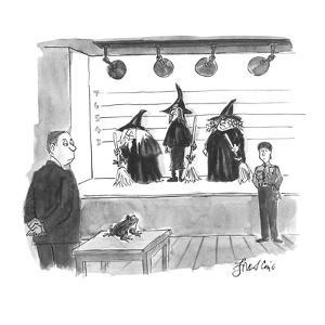 Frog in police identifying room trying to find the witch who put a curse o? - New Yorker Cartoon by Edward Frascino