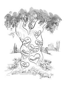 Hearts carved in tree with names of couples from Greek mythology.  There i? - New Yorker Cartoon by Edward Frascino