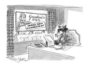 Wolf sitting behind desk wearing Grandma's clothing, at Grandma's Pies fac? - New Yorker Cartoon by Edward Frascino