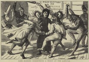 Rome, Maskers Surrounding a Priest at the Carnival by Edward Frederick Brewtnall