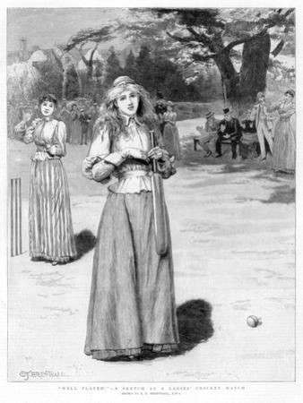 Well Played! - a Sketch at a Ladies' Cricket Match, 1890