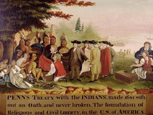 Penn's Treaty with the Indians circa 1840 by Edward Hicks